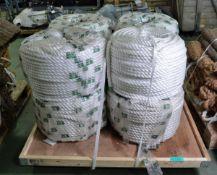 8x Moilon Twisted Ropes - White - Diameter 20mm x Length 220m