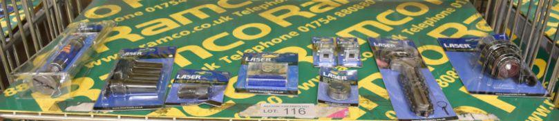 Laser Tool Assortment - Brake Caliper Rewind Tool, Spline Bit Set, Lambda Sensor Socket Th