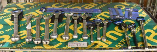 "Laser Combination Spanners, HSS Hacksaw Blades, 2x Feeler Gauges, 3/8"" Drive Ratchet, M10"