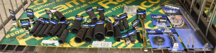 "Laser Telescopic Wheel Wrench, Various Sockets, 1/2""D > 3/8""D Adaptor, Star Bit T70 x 100m"
