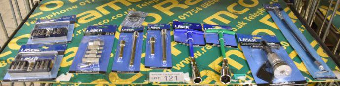 Laser Hex Bit Set, Spline Bit Set, Drain Plug Keys, 2x Extension Bars, Spark Plug Sockets,