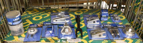 Laser Tool Assortment - Rear Sub-frame Bush Tool, Torque Angle Gauge, Trim Knife Blades, B