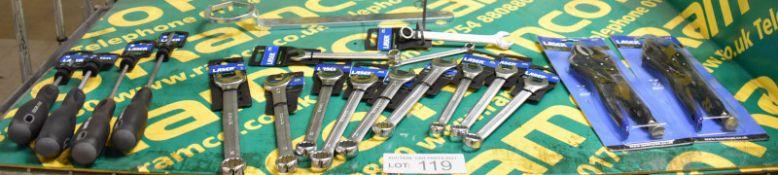 Laser Screwdriver, Combination Spanner & Grip Wrench Assortment