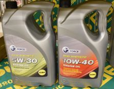 G-Force semi-synthetic 10W-40 A3/B4 engine oil 5LTR bottle and G-Force fully synthetic 5W-