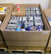 Vehicle parts - grey primer spray paint tins, 5W-30 engine oil 5L, EP2 complex grease, ATF
