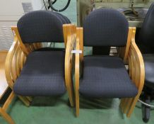 9x Fabric chairs - light wood frame