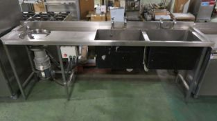Hobart Waste Disposal Unit + Twin Sink L 2430mm x W 600mm x H 1000mm