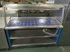 Heated servery counter with tray rail - L 1500mm x W 780mm x H 1340mm