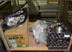 Vehicle parts - brake discs, pad set, tie rod end LH, LH headlamp assembly, FL suspension