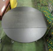 2x Black Top Stainless Steel Drop Leaf Trolley Tables