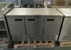 Polar G622 3 Door Under Counter Fridge L 1400mm x W 700mm x H 900mm