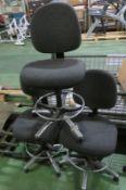 3x Black Office Swivel Chairs