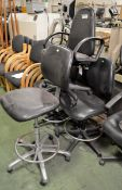 4x Black Office Swivel Chairs