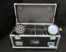 8x LEDJ Spectra Par 15Q8 in 8 way flightcase