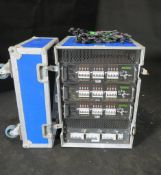 36 way Celco dimmer rack in wheeled rack case. 63/3 input, patch bay and soca outlets