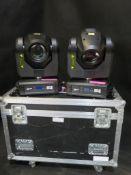 2x Martin Rush MH3 beam WIITH FAULTS in twin flightcase