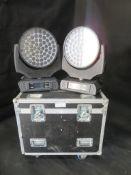2x Robe Robin 1200 LED wash in 2 way flightcase