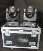 2x Martin Rush MH3 beam in twin flightcase