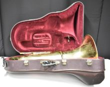 Besson Sovereign 982 Tuba (finger button stuck in place) in Besson case (missing wheel) -