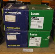 2x Fohrenbuhl (FA5088 & FA5034) & 2x Lucas (LRA03062 & LRA03156) Alternators