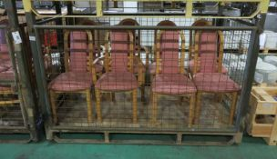3x Dining Chairs With Pink Fabric Upholstery With Armrest, 5x Dining Chairs With Pink Fabr
