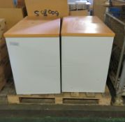 2x Metal 2-Drawer Hanging Filing Cabinets - L920mm x D520mm x H720mm