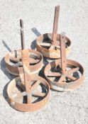 SET OF 4-CAST WHEELS WITH AXLES. Diameter 30cm