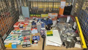 Various car parts - brake calipers, gaskets, filters, bearing kits, sump plugs, engine spe