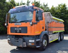 2008 (reg GN58 BXY) MAN TGM 26.330 6x4 with Romaquip 10m3 pre-wet gritter mount and 3m snow plough