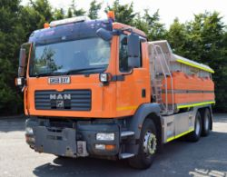 Online auction of recently released 2008 MAN TGM 26.330 6x4 with Romaquip 10m3 gritter mount and 3m snow plough