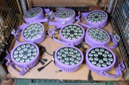 9x Round LED Strobe Lights some with brackets