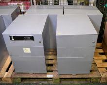 4x Grey Metal 3-Drawer Pedestals L 420mm x W 560mm x H 650mm
