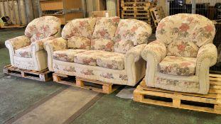 3 Piece Sofa & Chair Set - (Sofa - L'1850 x D860 x H900mm, Chairs - L950 x D820 x H950mm)