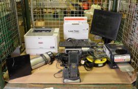 HP Desktop PC, LG monitor, OKI B431D printer, Pavo laminator, Motorola handheld scanner, T