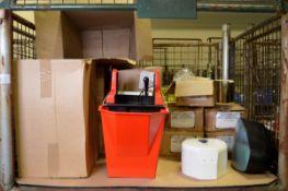 Various Mop Ringer Buckets, Toilet Tissue Dispensers