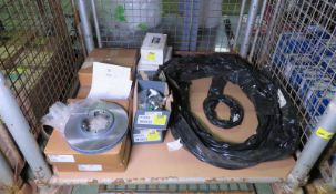 Vehicle parts - brake calipers, handbrake cables, shock absorber, suspension arm LH - see