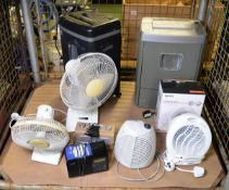 Office Desk Fans, Heaters, Radios, 2x Shredders