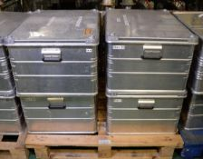 4x Zarges Aluminium Storage Cases L 790mm x W 590mm x H 410mm