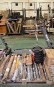 Various weighlifting bars, weights