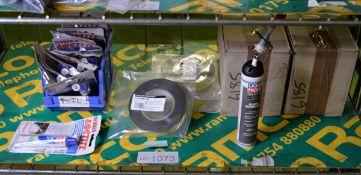 Loctite blue silicon, Trim strip tape, Liqui Moly Silicon