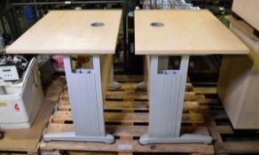 2x Small Pine Effect Wooden Desks - W 800mm x D 600mm x H 730mm