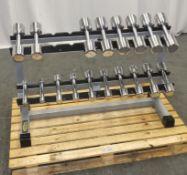 TechnoGym Dumbbell Set 1 -10kg Pairs on Rack - Missing 7kg weights