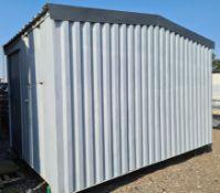 14ft x 9ft secure workshop/storage cabin, new walls. New apex roof. Aluminium treadplate f
