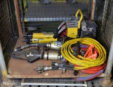 Weber-Hydraulik Jaws Of Life Set - 2x Rams, Spreader, Cutter, Nibbler, Weber Hydraulik power pack