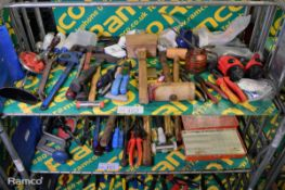 Hand Tools - Mallet, Goggles, Hammer, Screwdriver, hand drill, oil cans, pliers, wrench