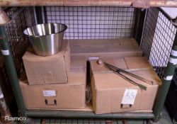 48x Stainless Steel Taper Mixing Bowls, 96x 21in Steak Tongs