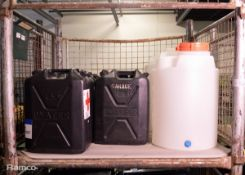 9x Plastic water jerry cans 20LTR, 2x Prominent 50LTR Plastic Tanks