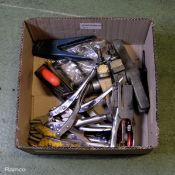 Various Tools - Mole Grips, pullers, Rasp File