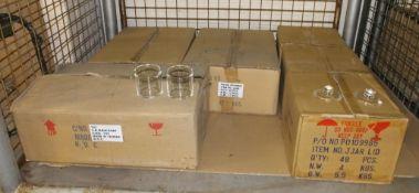 144x Glass jam jars, 144x glass jam jar lids