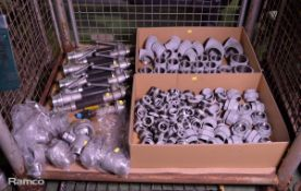 Various Galvanised Pipe Connectors, 9x Fire Hose Hand Operated Nozzles, 8x Fire Hose Quick